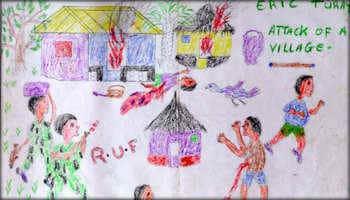 Gewalt, Bildmotiv eines Kindes: Soldaten attakieren ein Dorf