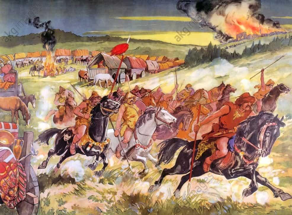 nomadische Reiterkrieger aus Zentralasien